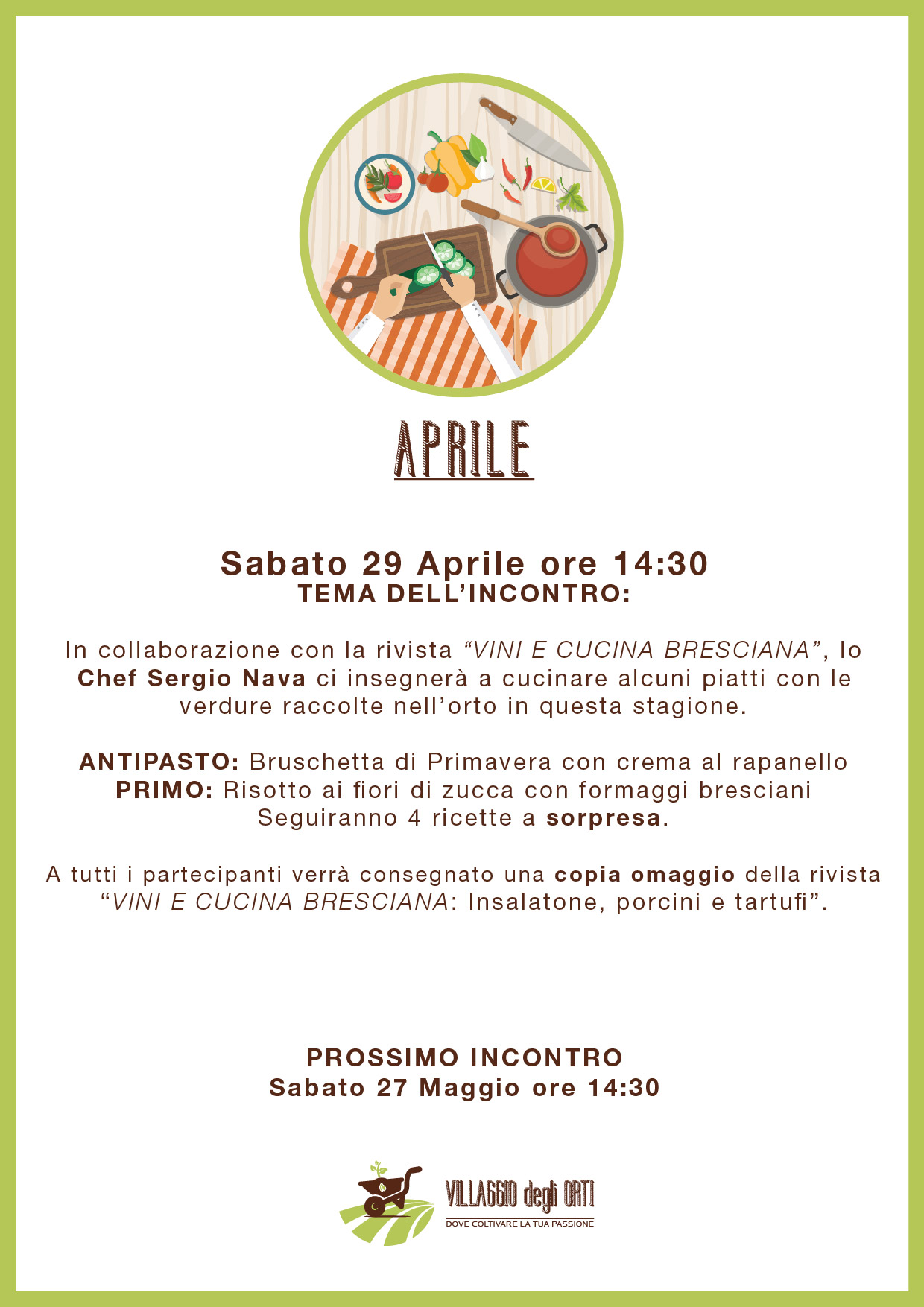 Villaggio degli orti brescia corsi di cucina aprile - Corsi cucina brescia ...